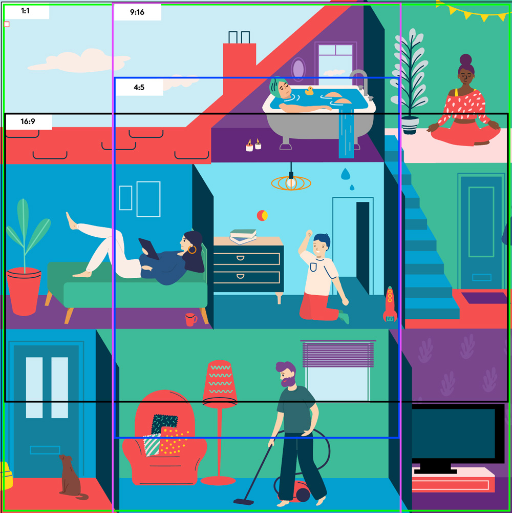 Childline Family Relationships Animation. This image shows how the master square animation could be easily reformatted for various social media channels.