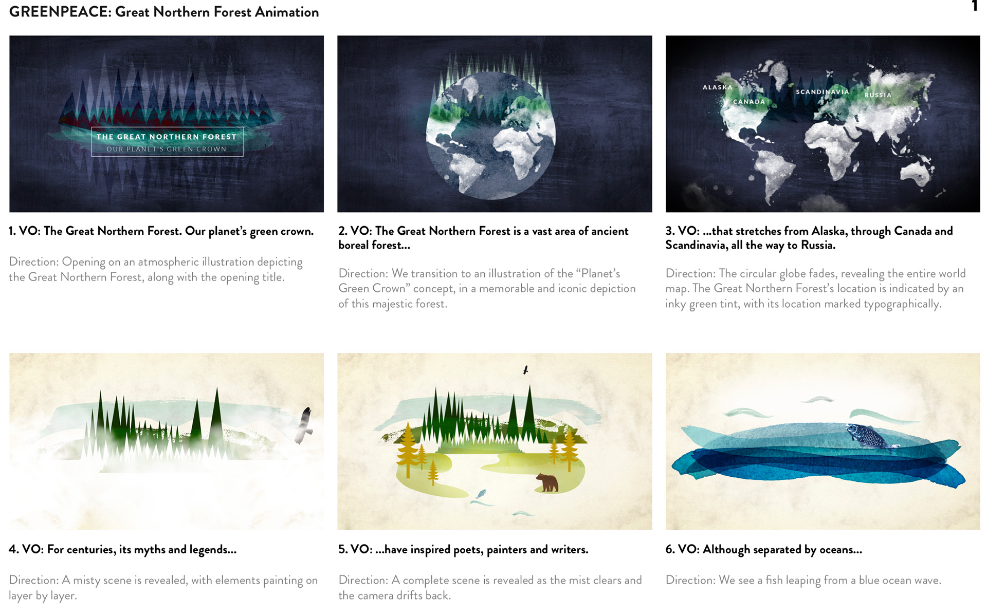 Page 1 of the Storyboard created for the Greenpeace animation for The Great Northern Forest campaign.