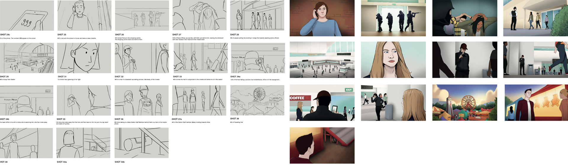 Storyboarding for run hide tell explainer film. Showing hand drawn and full colour storyboard stages.