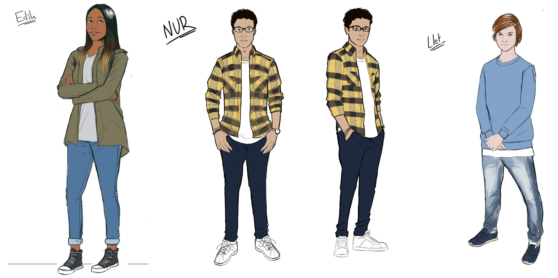 Character designs were created in a graphic novel illustration style