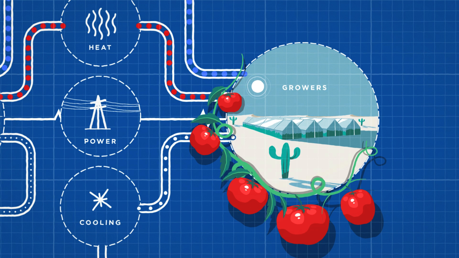 Sundrop Farms Animated Brand Film: still image taken from a diagramatic explainer section