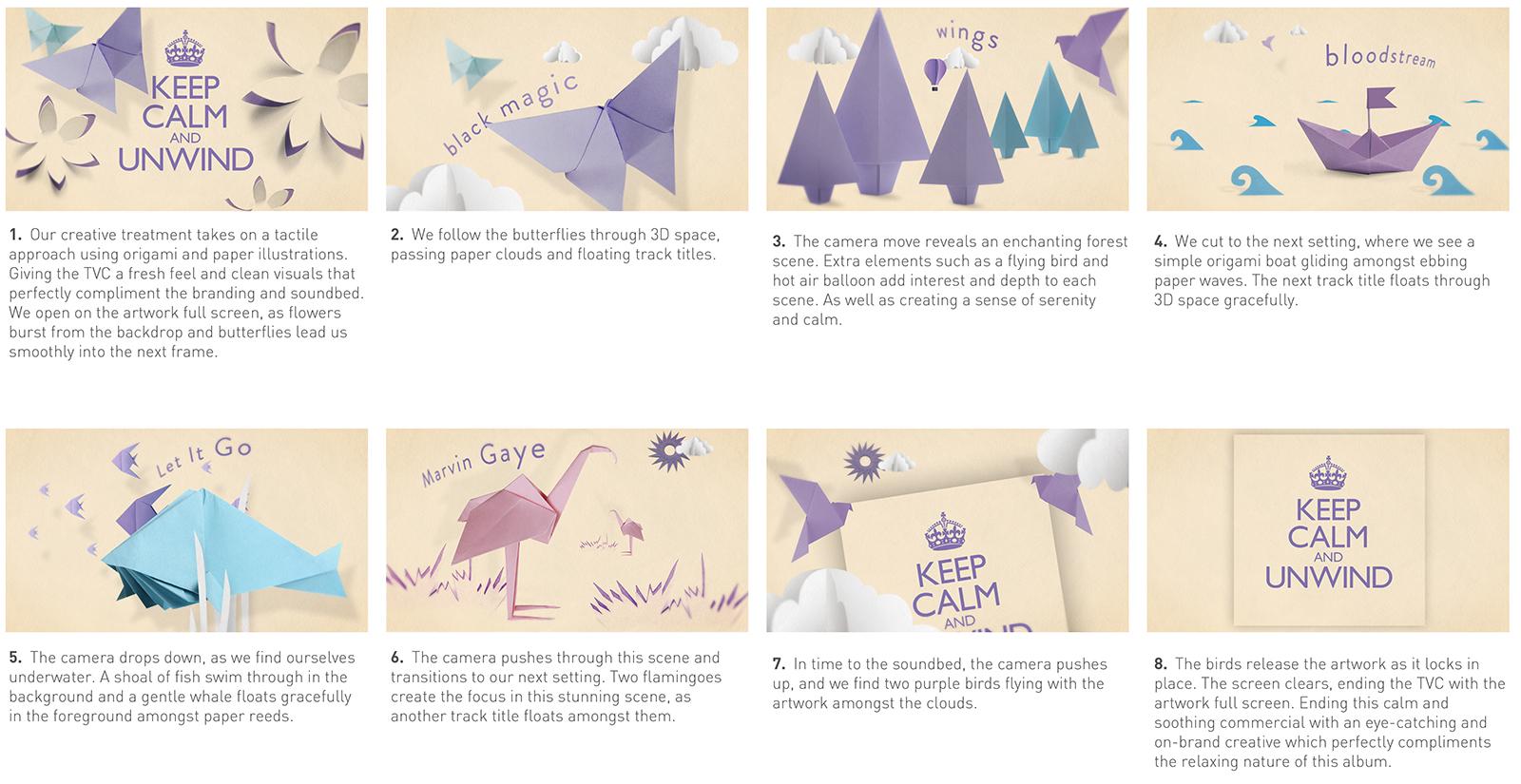 Keep Calm and Unwind Album ad Storyboard